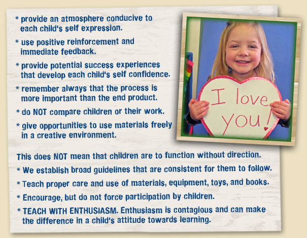 provide an atmosphere conducive to each child's self expression. use positive reinforcement and immediate feedback. provide potential success experiences that develop each child's self confidence. remember always that the process is more important than the end product. do not compare children or their work. give opportunities to use materials freely in a creative environment. This does not mean that children are to function without direction. We establish broad guidelines that are consistent for them to follow. teach proper care and use of materials, equipment, toys, and books. encourage, but do not force participation by children. TEACH WITH ENTHUSIASM. Enthusiasm is contagious and can make the difference in a child's attitude towards learning.